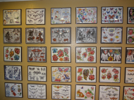Wide assortment of tattoo designs in frame on wall