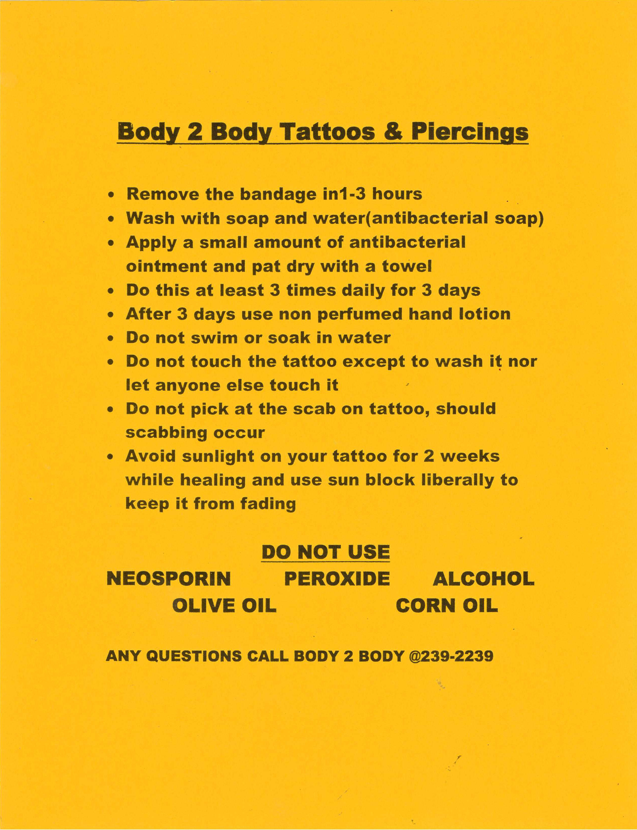 Henna Tattoo Aftercare: View The Products And Services That Body 2 Body Tattoos Of